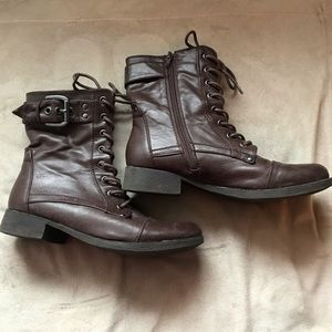 Shoes - Brown Faux Leather Lace Up Combat Boots 8